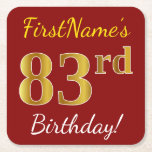 [ Thumbnail: Red, Faux Gold 83rd Birthday + Custom Name Paper Coaster ]