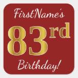 [ Thumbnail: Red, Faux Gold 83rd Birthday + Custom Name Sticker ]