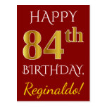 [ Thumbnail: Red, Faux Gold 84th Birthday + Custom Name Postcard ]