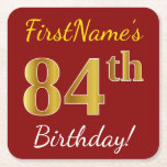 [ Thumbnail: Red, Faux Gold 84th Birthday + Custom Name Paper Coaster ]