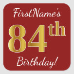 [ Thumbnail: Red, Faux Gold 84th Birthday + Custom Name Sticker ]