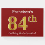 [ Thumbnail: Red, Faux Gold 84th Birthday Party + Custom Name Guest Book ]
