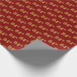 [ Thumbnail: Red, Faux Gold 84th (Eighty-Fourth) Event Wrapping Paper ]