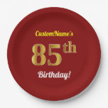 [ Thumbnail: Red, Faux Gold 85th Birthday + Custom Name Paper Plate ]