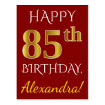 [ Thumbnail: Red, Faux Gold 85th Birthday + Custom Name Postcard ]