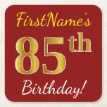 [ Thumbnail: Red, Faux Gold 85th Birthday + Custom Name Paper Coaster ]