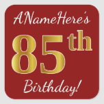 [ Thumbnail: Red, Faux Gold 85th Birthday + Custom Name Sticker ]