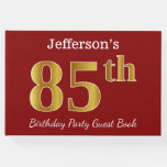 [ Thumbnail: Red, Faux Gold 85th Birthday Party + Custom Name Guest Book ]