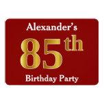 [ Thumbnail: Red, Faux Gold 85th Birthday Party + Custom Name Invitation ]
