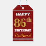 [ Thumbnail: Red, Faux Gold 86th Birthday + Custom Name Gift Tags ]