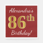 [ Thumbnail: Red, Faux Gold 86th Birthday + Custom Name Napkin ]