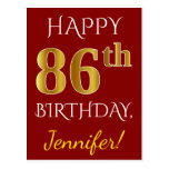 [ Thumbnail: Red, Faux Gold 86th Birthday + Custom Name Postcard ]