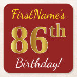 [ Thumbnail: Red, Faux Gold 86th Birthday + Custom Name Paper Coaster ]