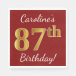 [ Thumbnail: Red, Faux Gold 87th Birthday + Custom Name Paper Napkin ]