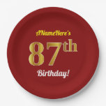 [ Thumbnail: Red, Faux Gold 87th Birthday + Custom Name Paper Plate ]