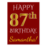 [ Thumbnail: Red, Faux Gold 87th Birthday + Custom Name Postcard ]