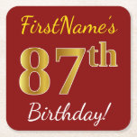 [ Thumbnail: Red, Faux Gold 87th Birthday + Custom Name Paper Coaster ]