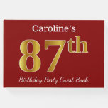 [ Thumbnail: Red, Faux Gold 87th Birthday Party + Custom Name Guest Book ]