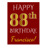 [ Thumbnail: Red, Faux Gold 88th Birthday + Custom Name Postcard ]