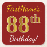 [ Thumbnail: Red, Faux Gold 88th Birthday + Custom Name Paper Coaster ]