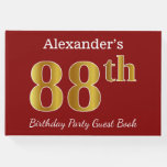 [ Thumbnail: Red, Faux Gold 88th Birthday Party + Custom Name Guest Book ]