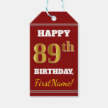 [ Thumbnail: Red, Faux Gold 89th Birthday + Custom Name Gift Tags ]