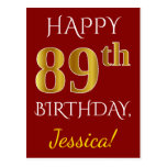 [ Thumbnail: Red, Faux Gold 89th Birthday + Custom Name Postcard ]