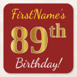 [ Thumbnail: Red, Faux Gold 89th Birthday + Custom Name Paper Coaster ]