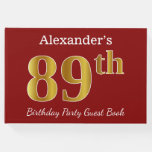 [ Thumbnail: Red, Faux Gold 89th Birthday Party + Custom Name Guest Book ]