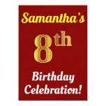 [ Thumbnail: Red, Faux Gold 8th Birthday Celebration + Name Invitation ]