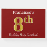 [ Thumbnail: Red, Faux Gold 8th Birthday Party + Custom Name Guest Book ]
