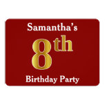 [ Thumbnail: Red, Faux Gold 8th Birthday Party + Custom Name Invitation ]