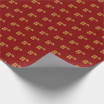 [ Thumbnail: Red, Faux Gold 8th (Eighth) Event Wrapping Paper ]