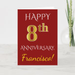 [ Thumbnail: Red, Faux Gold 8th Wedding Anniversary Card ]