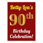 [ Thumbnail: Red, Faux Gold 90th Birthday Celebration + Name Invitation ]