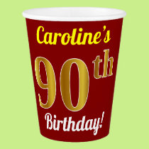 Red, Faux Gold 90th Birthday   Custom Name Paper Cup
