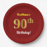 [ Thumbnail: Red, Faux Gold 90th Birthday + Custom Name Paper Plate ]