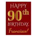 [ Thumbnail: Red, Faux Gold 90th Birthday + Custom Name Postcard ]