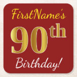 [ Thumbnail: Red, Faux Gold 90th Birthday + Custom Name Paper Coaster ]