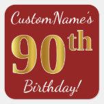 [ Thumbnail: Red, Faux Gold 90th Birthday + Custom Name Sticker ]