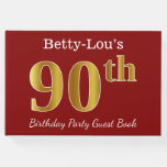 [ Thumbnail: Red, Faux Gold 90th Birthday Party + Custom Name Guest Book ]