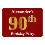 [ Thumbnail: Red, Faux Gold 90th Birthday Party + Custom Name Invitation ]