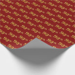 [ Thumbnail: Red, Faux Gold 90th (Ninetieth) Event Wrapping Paper ]