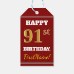 [ Thumbnail: Red, Faux Gold 91st Birthday + Custom Name Gift Tags ]