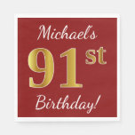 [ Thumbnail: Red, Faux Gold 91st Birthday + Custom Name Napkin ]