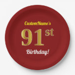 [ Thumbnail: Red, Faux Gold 91st Birthday + Custom Name Paper Plate ]