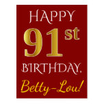 [ Thumbnail: Red, Faux Gold 91st Birthday + Custom Name Postcard ]