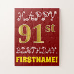 [ Thumbnail: Red, Faux Gold 91st Birthday + Custom Name Puzzle ]