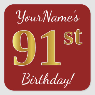 Red, Faux Gold 91st Birthday + Custom Name Sticker