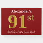 [ Thumbnail: Red, Faux Gold 91st Birthday Party + Custom Name Guest Book ]